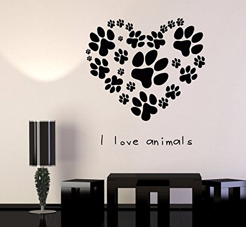 Vinyl Wall Decal Pets Veterinary Clinic Animal Love Dog Paw Cat Stickers 666 ()