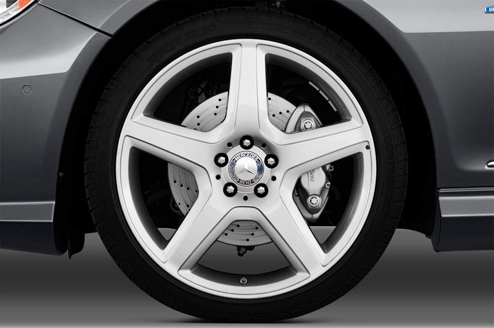 Lot de 4 cache-moyeu /étoile avec couronne de laurier bleu fonc/é effet 3D pour Mercedes Benz capuchon de moyeu enjoliveurs avec anneau de fixation