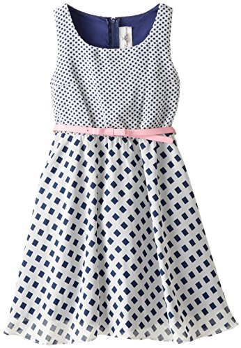 Rare Editions Big Girls' Mixed Print Chiffon Dress, Navy/White, 7