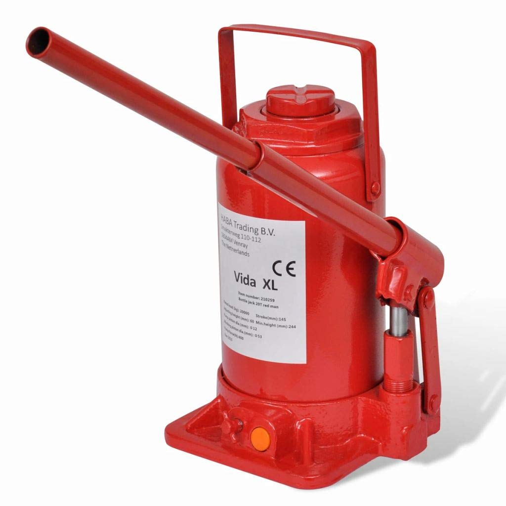 Festnight Hydraulic Bottle Jack Red 20 Ton Painted cast steel 15 x 15 x 24.4 cm Car Lift