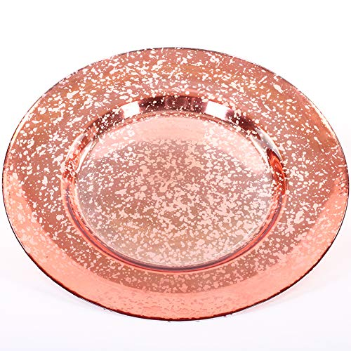 Koyal Wholesale Antique Mercury Glass Charger Plates, Bulk Set of 4, Pink Vintage Charger Plates for Wedding Reception Place Settings, Christmas Thanksgiving Dinnerware, Modern Dining Table Settings -