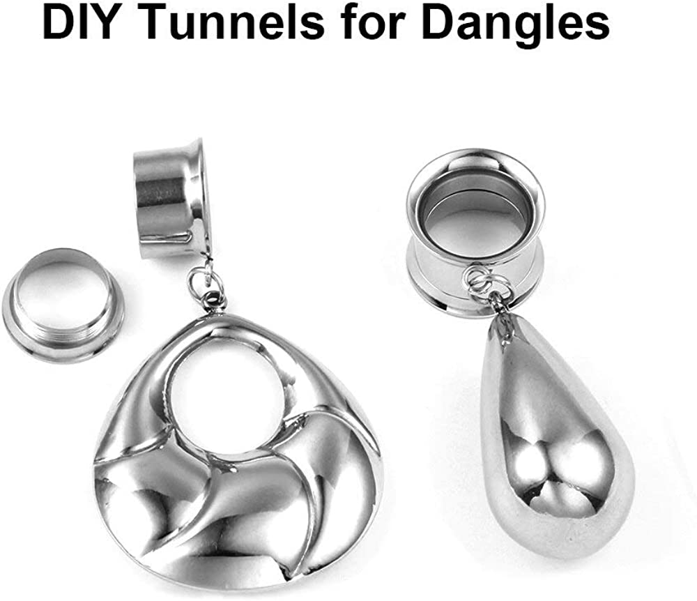 Women Mens Stainless Steel Ear Dangle Gauges Accessories 3 Pairs LADEMAYH DIY Tunnels Plugs Gauges for Ears Piercing Jewelry