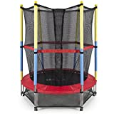 ALEKO TRP55 Mini Exercise Trampoline For Kids With Safety Net, 55 Inch, Black and Red