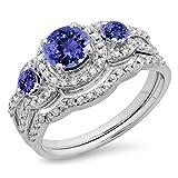 14K Gold Round Tanzanite & White Diamond Ladies 3 Stone Bridal Engagement Ring With Matching Band Set