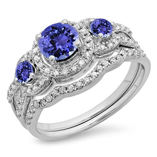 14K-Gold-Round-Tanzanite-White-Diamond-Ladies-3-Stone-Bridal-Engagement-Ring-With-Matching-Band-Set