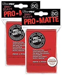 Ultra Pro PRO-MATTE (100 Count) Red Deck Protector Sleeves - Magic the Gathering (2 Packs of 50 each)
