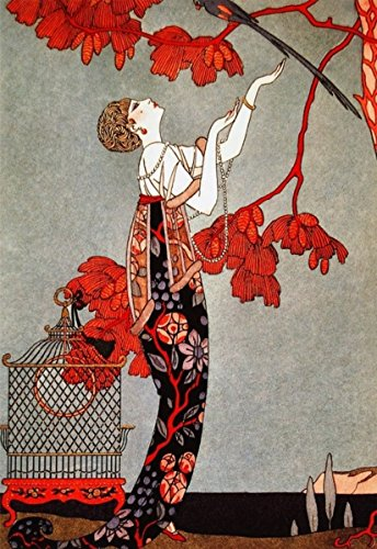 George Barbier Art Deco Woman Needlepoint Canvas 11x16 inches