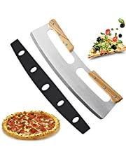Pizza Cutter Rocker Blade with Double Wood Handle for Easy Cutting Slicer Knife with Protective Cover, Double Non Slip Wood Handle Premium Pizza Tool Accessory for Any Pizza Lover