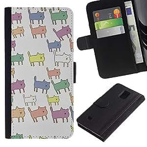 KingStore / Leather Etui en cuir / Samsung Galaxy Note 4 IV / Pastel de color patrón animal lindo