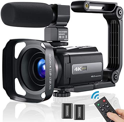 4K Video Camera Camcorder Ultra HD 4K 60FPS 48MP YouTube Camera Digital Vlogging Camera with WiFi, IPS Touch Screen, Microphone, Stabilizer, 2.4 G Remote Control, Lens Hood, 2 Batteries