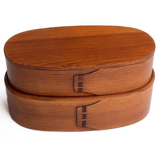 NAN Doble Caja De Almuerzo Portátil De Madera Bento Box Sushi De ...