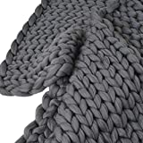 CYCTECH Soft Warm Solid Micro Plush Luxury Cozy Thick Wool Bulky Knitting Throw Anti-static Chunky Knitted Blanket Rug Sofa Bedding(100X120cm) (Dark Gray)