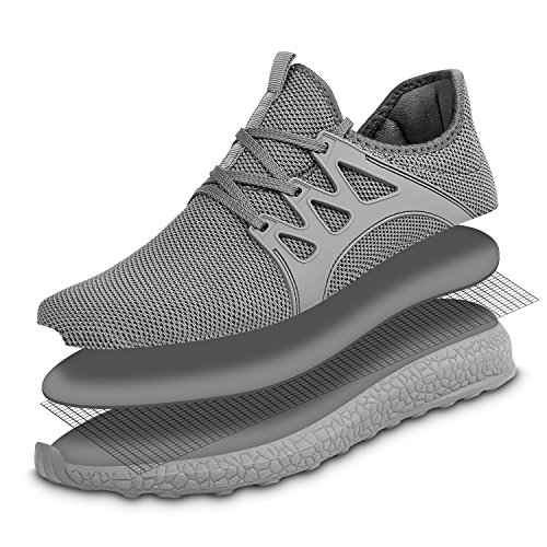 Breathable Lightweight Ultra Womens Plus Size Running Feetmat Grey Athletic Sneakers Shoes Mesh wFq6tnAIZ