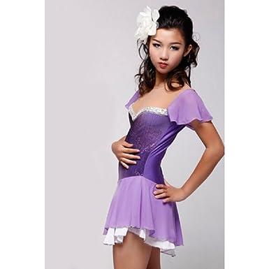 Amazon.com: Patinaje artístico vestido, morado, L, Púrpura ...