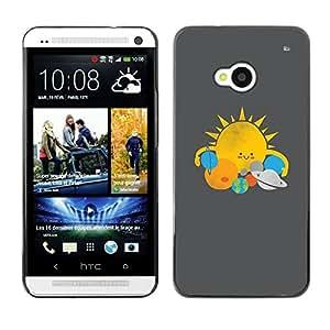 GOODTHINGS ( NO PARA HTC ONE MINI M4) Funda Imagen Diseño Carcasa Tapa Trasera Negro Cover Skin Case para HTC One M7 - sistema de la estrella Sol Planetas dibujo niños