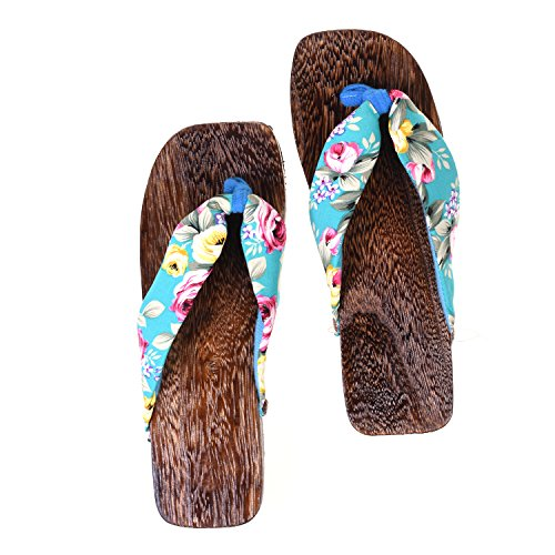 Kloud City Japanese Floral Print Slip-On Flip Flop Geta Clogs Slippers Kimono Yukata Turqouise Blue