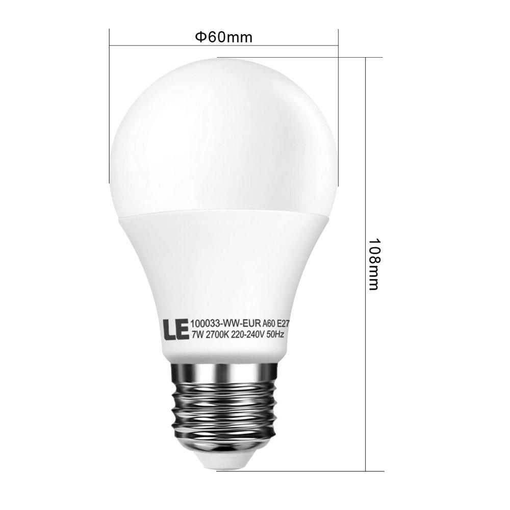 LE Bombilla LED, A60, E27, 7W=incandescentes 40W, 490lm, Blanca Cálida, 5 Unidades: Amazon.es: Iluminación