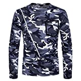 Realdo Clearance Sale Mens Casual Camouflage Zipper Long Sleeve O-Neck T-Shirt Top Blouse(X-Large,Grey)