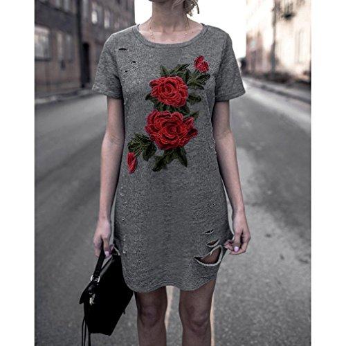 Rcool Mujeres Bordado Manga Corta Vestido de Fiesta de Algodón de Flores Top Tops Gris