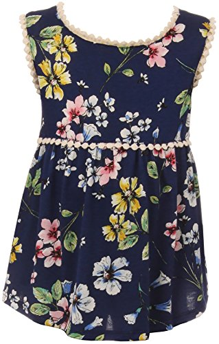 Little Girl Floral Print Tank Top with Lace Trim Navy 6 JKS 2091