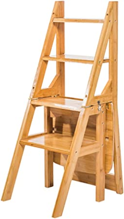 CAIJUN Silla Plegable Bambú/Madera Maciza Plegado Doble Propósito Montaje Escalera De Estante La Seguridad Escalera De 4 Escalones, 4 Colores Doble Uso (Color : A, Tamaño : Bamboo): Amazon.es: Hogar