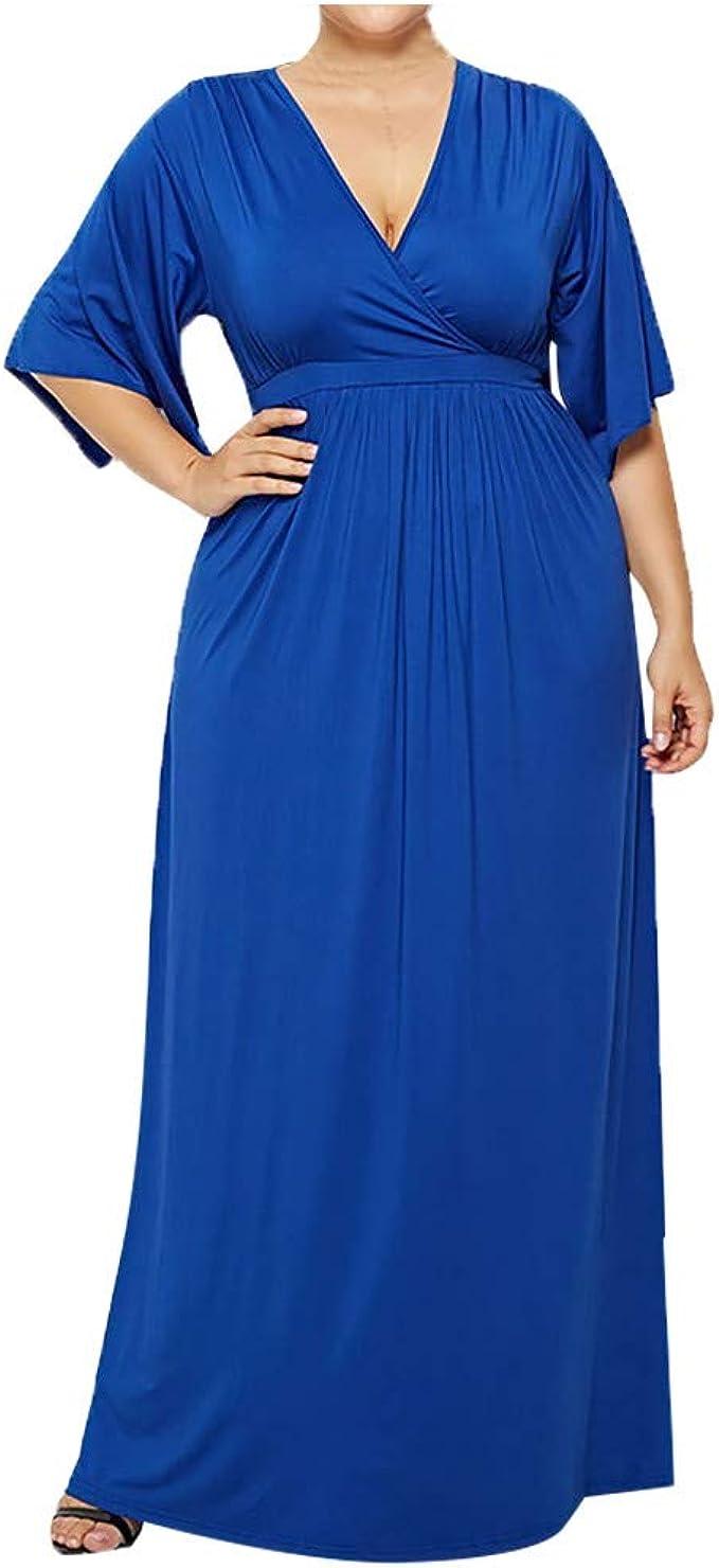 Ansenesna Kleid Damen Große Größen V Ausschnitt Lang Elegant