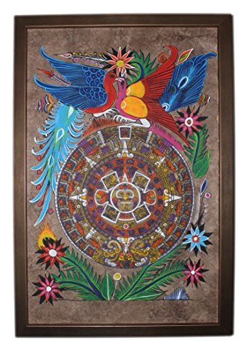 Bark Mexican Painting (Mexican handicraft artwork on Amate paper Framed beautiful Aztec Mayan Calender Painting Aztec-P15)