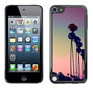 Plastic Shell Protective Case Cover || Apple iPod Touch 5 || La Purple Sunset Palm Trees @XPTECH