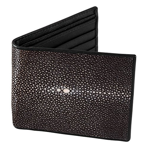 Mens Brown Polished Stingray Billfold Wallet w ID Holders, Brown Napa - Brown Stingray