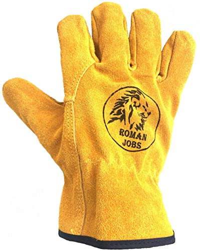 Leather Work Gloves Men & Women, Leather Working Gloves, Gardening, Wood Cutting, Mechanic, Driving, Welding, Heavy Duty Gloves to Protect Hands
