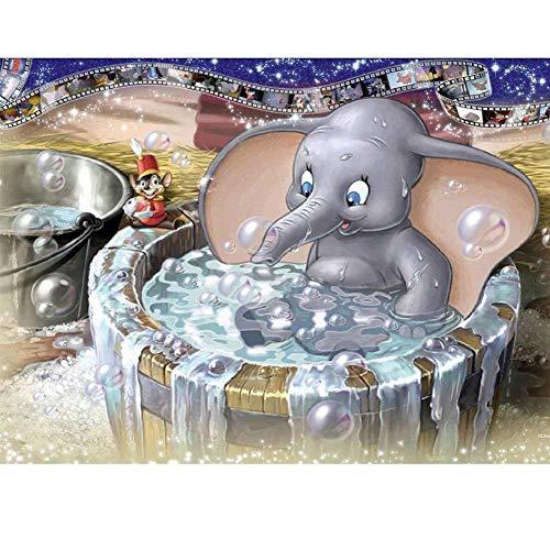 Bathing Elephant - MYSNKU 5D DIY Diamond Painting Kits Full Drill Diamond Embroidery for Adults and Children,Home Art Craft Wall Decor (Elephant Bathing, 30x40 cm)
