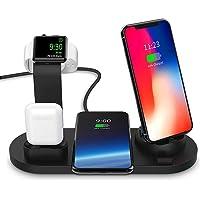ワイヤレス充電スタンド Hoosoome 4-in-1 Apple Watch スタンド 置くだけ充電 iPhone/Apple Watch/Airpods充電器 iPhone X/XS/XR/XS Max/ 8/8 Plus Qi 7.5W急速充電対応 Galaxy S9/S9 Plus/Note8/S8/S8 Plus/S7/S7 Edge/S6 Edge Plus 10W対応 その他Qi対応機種も適用