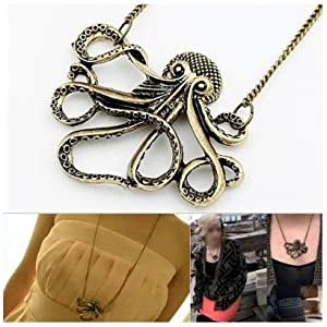 SODIAL(TM) Vintage Bronze Style Octopus Pendant Long Chain Necklace Party
