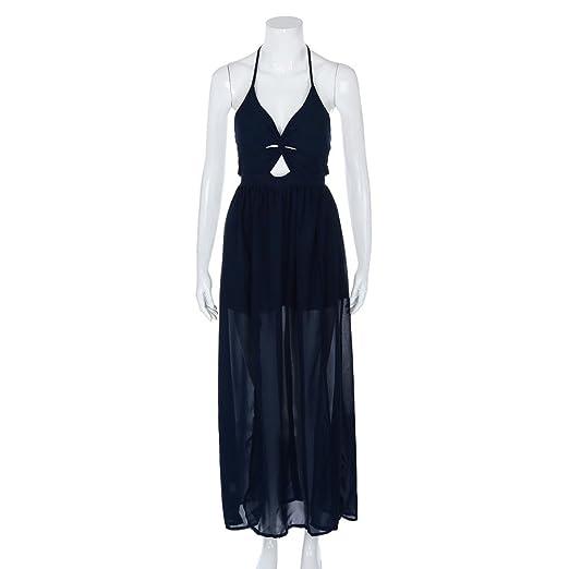 235d932010b6c 2018 Elegent Women Dresses V-Neck Pure Color Split Ends Sandy Sleeveless  Camisole Beach Long