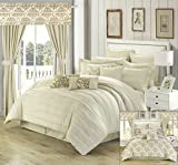 Oversized King Bed in a Bag Set Perfect Home 24 Piece Orinda Complete Pleated ruffles and Reversible Printed King Bed In a Bag Comforter Set with window treatement, Beige. Sheets Included