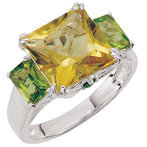 (Peridot and Lime Quartz Ring Set in Sterling Silver )