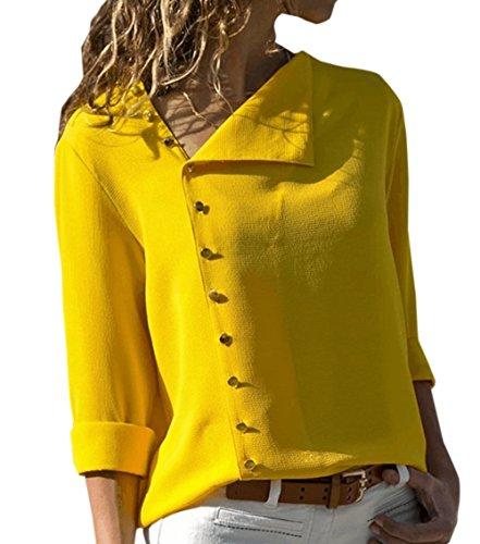 Automne Casual Chemises Longues Femmes Tee Hauts Jaune New Printemps Irregulier et Bouton Tops Shirts Blouse Chemisiers Manches q6nnC5