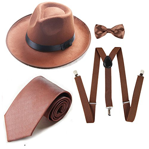 Men's Roaring 1920s Set Manhattan Fedora Hat,Y-Back Suspenders