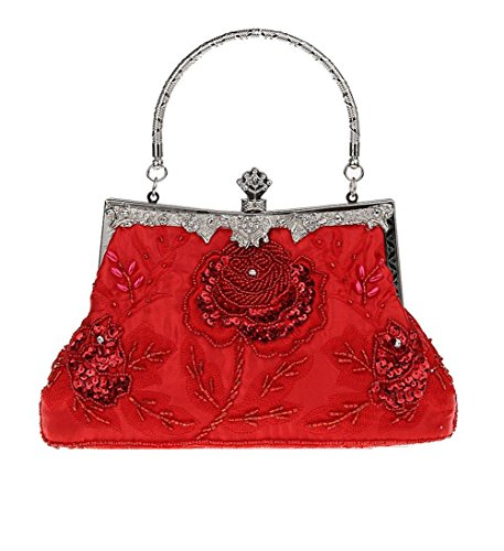 Bopstyle Women's Sequin Beaded Party Clutch Vintage Rose Purse Evening Handbag (Red)