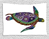 Ambesonne Psychedelic Decor Tapestry, Sea Turtle with Colorful Ornamental Tattoos on Animal Art Work, Wall Hanging for Bedroom Living Room Dorm, 80 W X 60 L inches, Purple Orange Pink