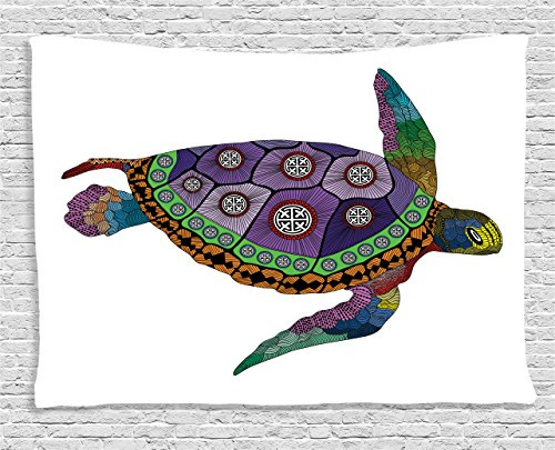 Ambesonne Psychedelic Decor Tapestry, Sea Turtle with Colorful Ornamental Tattoos on Animal Art Work, Wall Hanging for Bedroom Living Room Dorm, 80 W X 60 L inches, Purple Orange Pink by Ambesonne