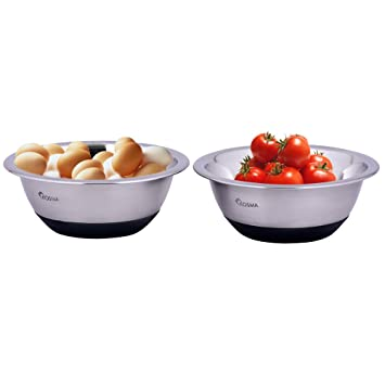Kosma Set de 2 tazón de acero inoxidable | Bols para Ensaladas con base de silicona antideslizante - 16 cm (0.75 litros)