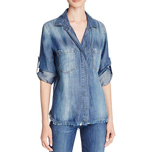 Bella Dahl Womens Split Back Frayed Hem Button-Down Top Blue L by Bella Dahl