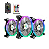 3 Pack 120mm aigo Z6 RGB LED Adjustable Color Quiet High Airflow Long Using Life Computer Case PC Cooling Fan, CPU Cooler and Radiator Support Intel AMD DIY MOD AM4 Rrzen, with Remote Controller