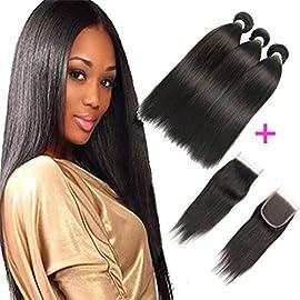 FASHION QUEEN Hair Brazilian Straight Hair 3 Bundles 7A Unprocessed Virgin Hair Human Hair Bundles Natural Color