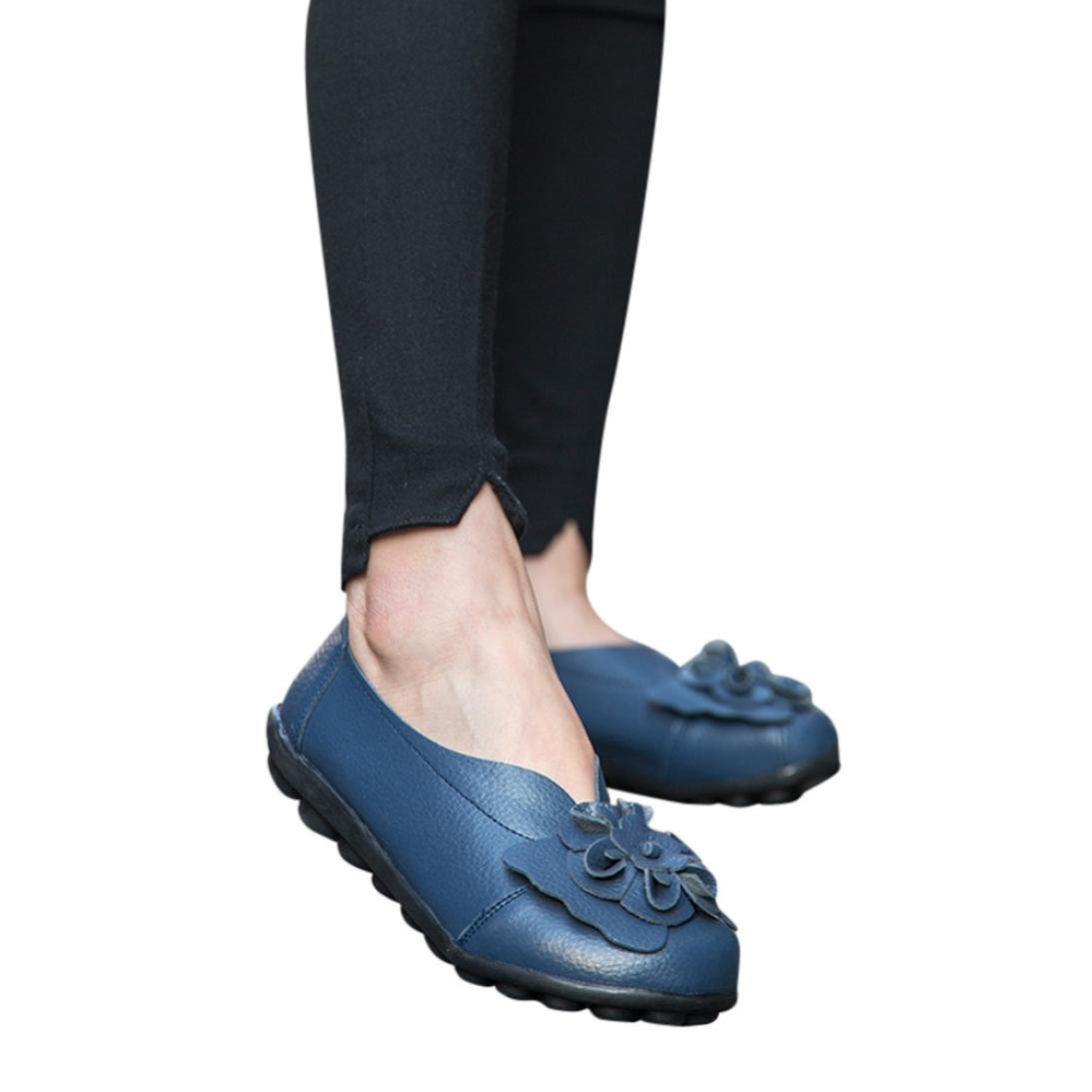 Neartime Women Single Shoes, 2018 Fashion Leather Flats Flower Sandals Round Toe Slip-On Casual Slipper Soft Shoes