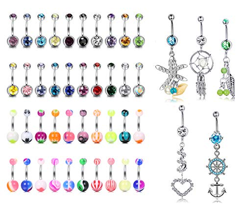 YADOCA 45 Pcs 14G Navel Belly Button Rings Set Mixed CZ Acrylic Bioflex Banana Bar Body Piercing Jewelry Stainless Steel Curved Dangle Navel Rings