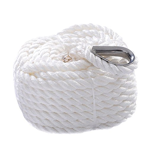 Giantex 1/2 x 50'/100'/150'/200' Twisted Three Strand 6600lbs Nylon Anchor Rope Boat Sailboat (100') (Lines Anchor Three Strand)