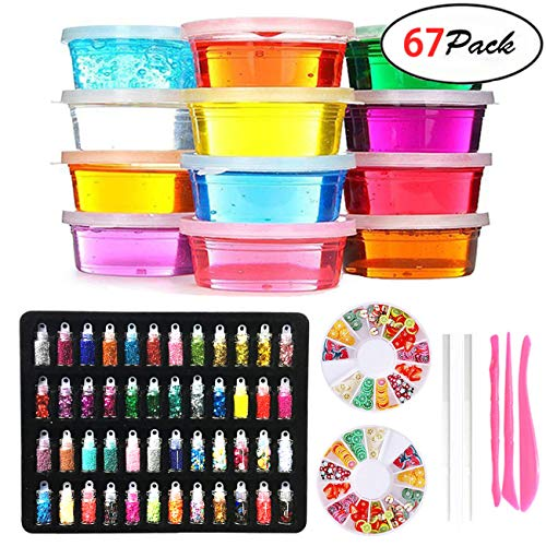 DIY Fluffy Slime Kit – 12 Colors Crystal Slime with 48 Bottles Glitter Powder for Girls Boys Toys, 2 Fruit Slices and Tools Set for Kids Art Craft,Stress Relief Squeeze Toy for Aged 6+ by Kiddosland