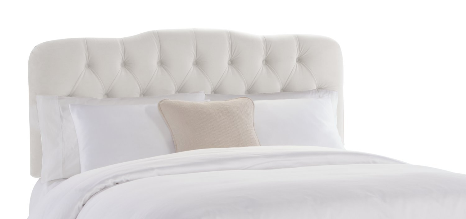 skyline furniture surrey queen tufted headboard white velvet  - skyline furniture surrey queen tufted headboard white velvet amazoncahome  kitchen